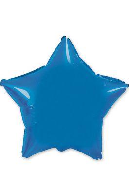 Шарик  звезда металлик синий