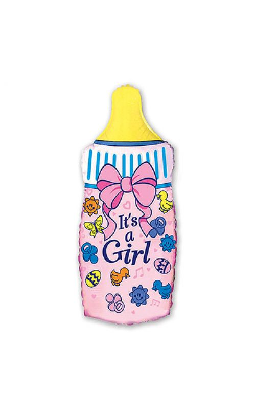 Шарик для девочки Бутылка розовая