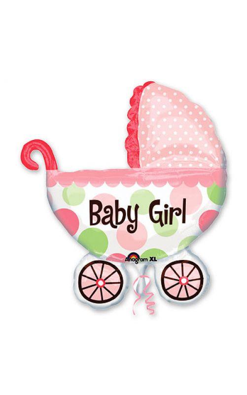 Шар Коляска для малыша розовая