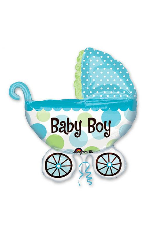 Шар Коляска для малыша голубая