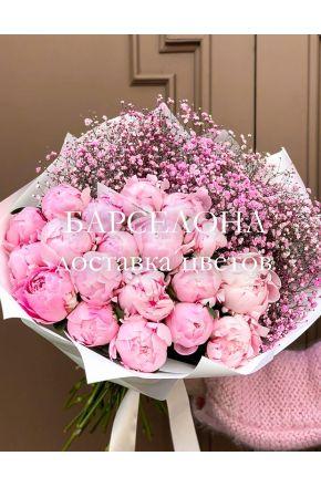 Букет из 19 пионов и розовой гипсофилы