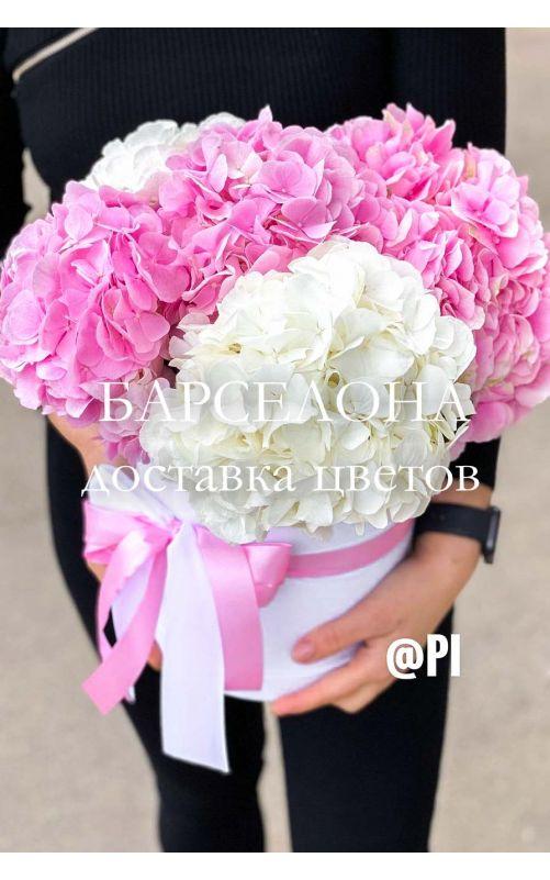 Шляпная коробка из 5 белых и розовых гортензий