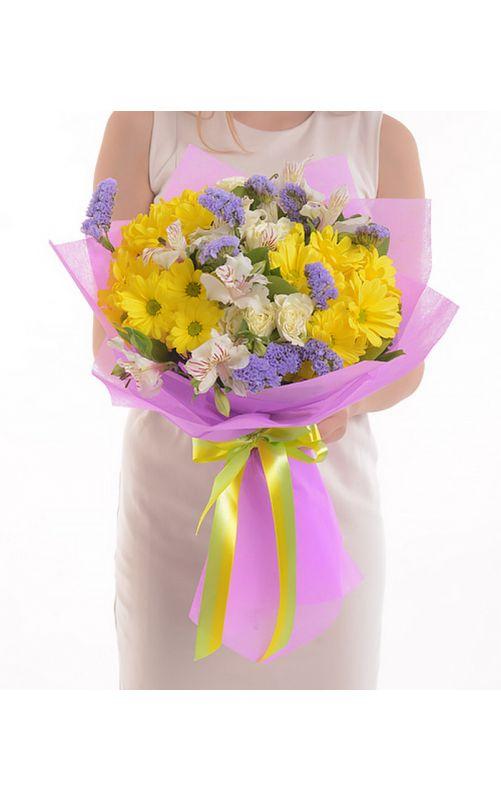 Букет из хризантемы и статицы