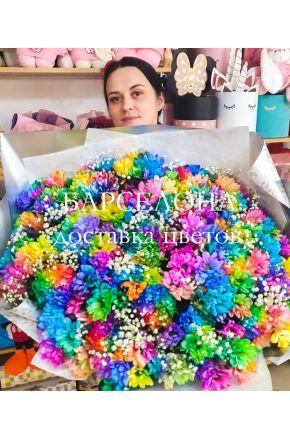 Букет 51 радужная хризантема