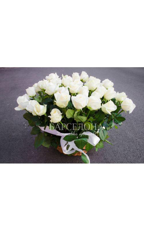Корзина из 25 белых роз 60 см. с зеленью