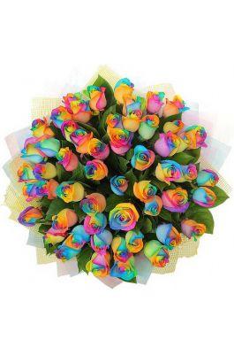 51 Радужная роза в упаковке