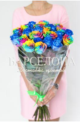 25 Синих и радужных роз 50 см.