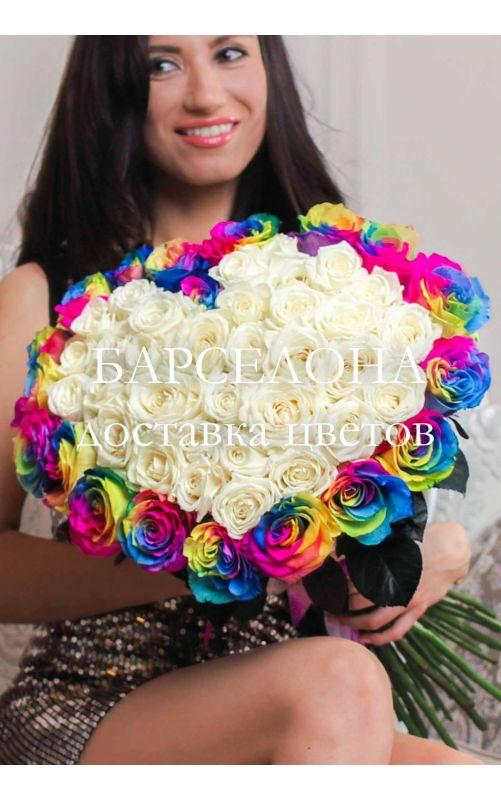 Сердце из 51 розы 60 см. Эквадор