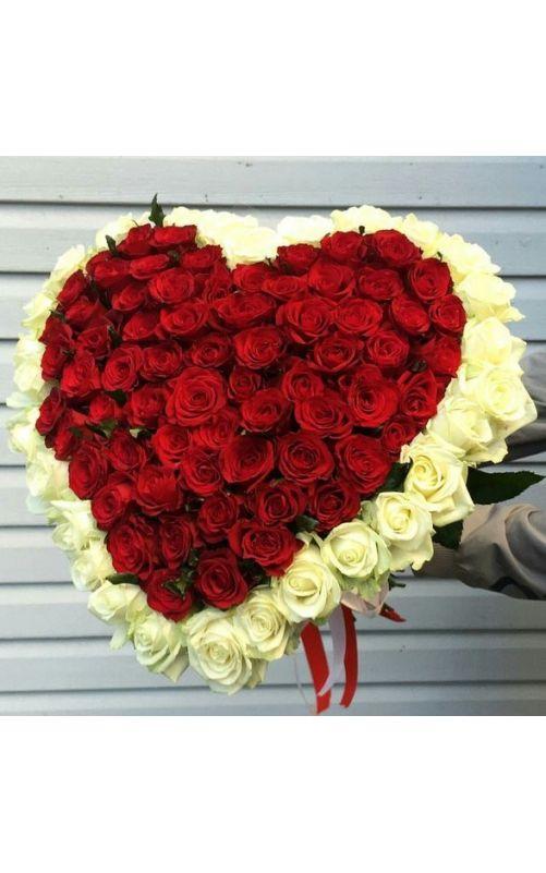Сердце из 101 розы с окантовкой 50 см