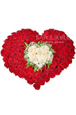 """Сердце из 101 розы """"Признание"""""""